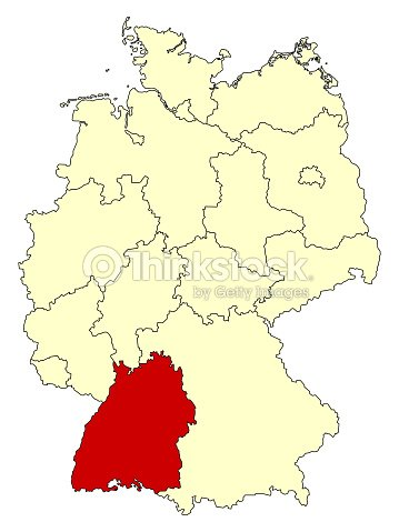 yellow map of germany with federal state badenwürttemberg vector art