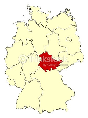 yellow map of germany with federal state thuringia vector art