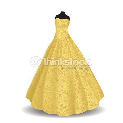 yellow party dress on a white background ベクトルアート thinkstock