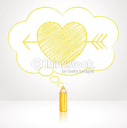 yellow pencil drawing arrow through heart in thought cloud bubble