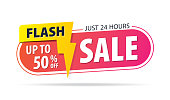 Yellow pink tag Flash sale 24 hour 50 percent off promotion website banner heading design on graphic white background vector for banner or poster. Sale and Discounts Concept.