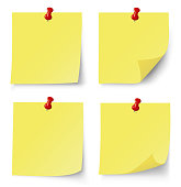 Yellow post note set. Vector illustration