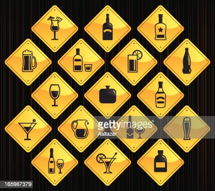 Yellow road signs alcohol vector art getty images for House music symbol
