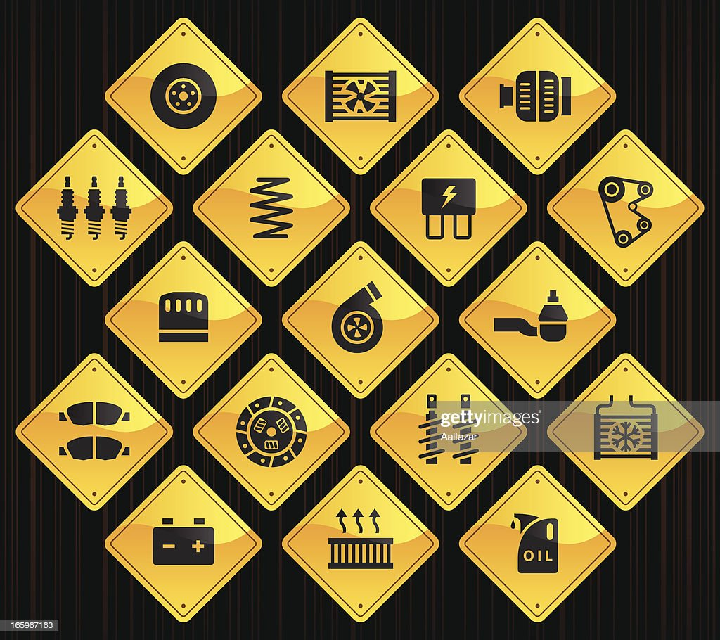 Yellow Road Signs Car Maintenance Vector Art Getty Images