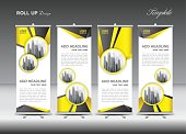 Yellow Roll up banner template vector, flyer, advertisement, x-banner, poster, pull up design, display, layout vector illustration