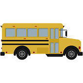 Side view of yellow school bus in flat design isolated on white background