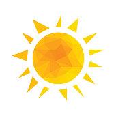 Yellow segmented geometric sun with rays vector.