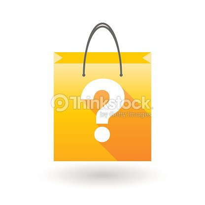 yellow shopping bag icon with a question sign ベクトルアート