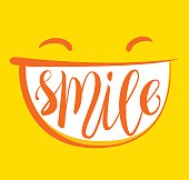 Yellow positive thinking, smile poster. Smile brush lettering composition.