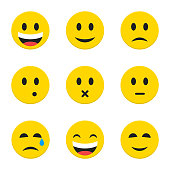 Yellow Smiley Faces Objects. Vector Illustration of Flat Style Icons isolated over White.