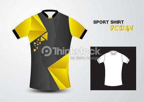 Yellow Sport Shirt Design Template For Soccer Jersey Football Basketball T Mock Up Uniform Clothes Fashion Layout Vector Illustration