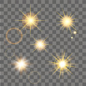 Yellow star burst with sparkles. Vector illustration.