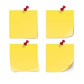 Yellow sticky note with pin clip isolated on white background. Vector illustration.