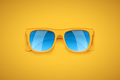 Yellow sunglasses on yellow background. Summer vacation or shopping sale creative advertisement. Editable Vector Illustration