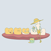yellow teeth and cigarette characters. great for dental care and teeth whitening concept