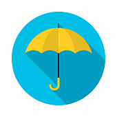Yellow umbrella circle icon with long shadow. Flat design style. Umbrella simple silhouette. Modern, minimalist, round icon in stylish colors. Web site page and mobile app design vector element.