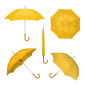 Vector realistic illustration of yellow umbrellas in various positions. Parasol opened and taken down icon set isolated on white background.
