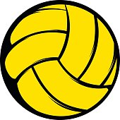 Yellow volleyball ball icon in cartoon style on a white background
