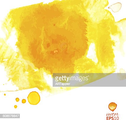 Yellow watercolor vector splash abstract background : Vectorkunst
