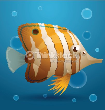 Yellow white striped cartoon tropical fish vector art for 405 tropical fish