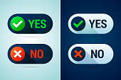 Yes and no button with check mark and cross signs. There are two color variants for using on white or dark backgrounds. Vector illustration.