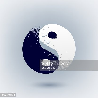 Yin Yang Symbol Painted With Brush Strokes Vector Art Thinkstock