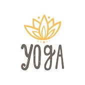 Yoga and lotus. Vector hand drawn lettering and illustration