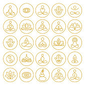 Yoga and Meditation Icons in hand drawn outline style