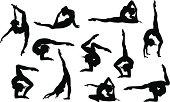Set of 11 yoga asana's silhouettes