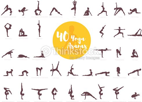 40 Yoga Asanas With Names Vector Art