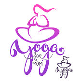 Yoga for Mom, vector  template with lettering composition and woman body