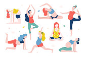Yoga for pregnant women vector flat illustration isolated on white background. Healthy women with belly doing yoga in different poses