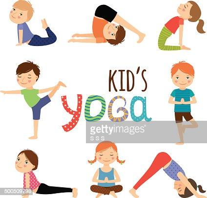 Yoga Kids Set Vector Art Thinkstock