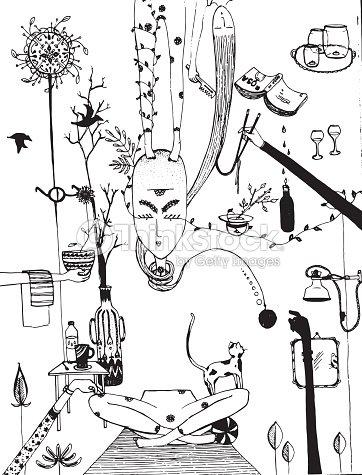 Yoga Meditation Illustration Vector Art | Thinkstock