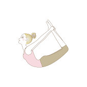 Yoga exercise, yoga pose, woman in Bow Pose