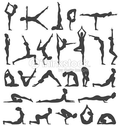 Yoga Poses Collection Set Black Icons Isolated On White Vector Art