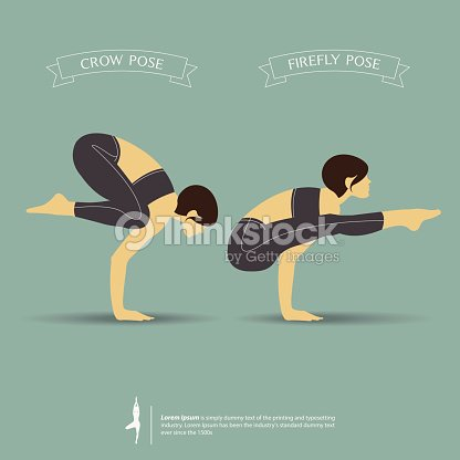 Yoga Poses In Two Position Crow Pose And Firefly Vector Art