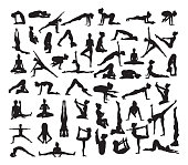 A set of detailed yoga poses and postures silhouettes