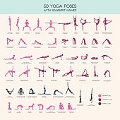 Vector set of stick figures doing yoga asanas, yoga people infographics, 50 basic poses for beginners and advanced learners