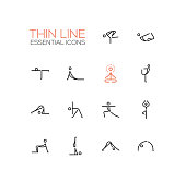Yoga poses - modern vector simple thin line design icons and pictograms set.