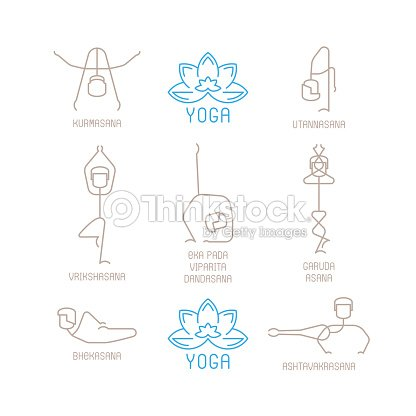 Yoga Poses Vector Illustration In Mono Line Style Art