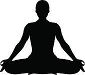 VECTOR: Yoga Lotus position silhouette.
