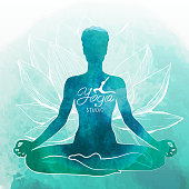 Yoga, relaxation and meditation. Watercolor background vector illustration