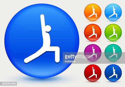Yoga Stretch Icon on Shiny Color Circle Buttons : Vektorgrafik