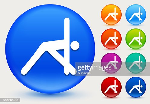 Yoga Stretch Icon on Shiny Color Circle Buttons : ベクトルアート