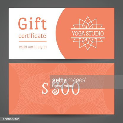 Yoga Studio Vector Gift Certificate Template Vector Art Getty Images