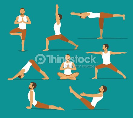 Yoga Workout Man In Tree Lotus Boatupwards And Downwards Facing Dog