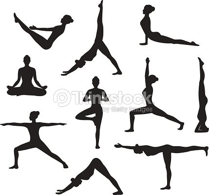Yoga Workout Silhouettes Of A Woman In Tree Sirsasana Boat