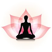 Woman silhouette on the lotus background