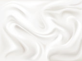 Yogurt, cream or silk texture vector illustration of 3D liquid white paint wavy flow pattern background for dairy product, textile or cosmetic moisturizer design template